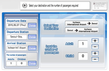 Select the destination and number of passenger